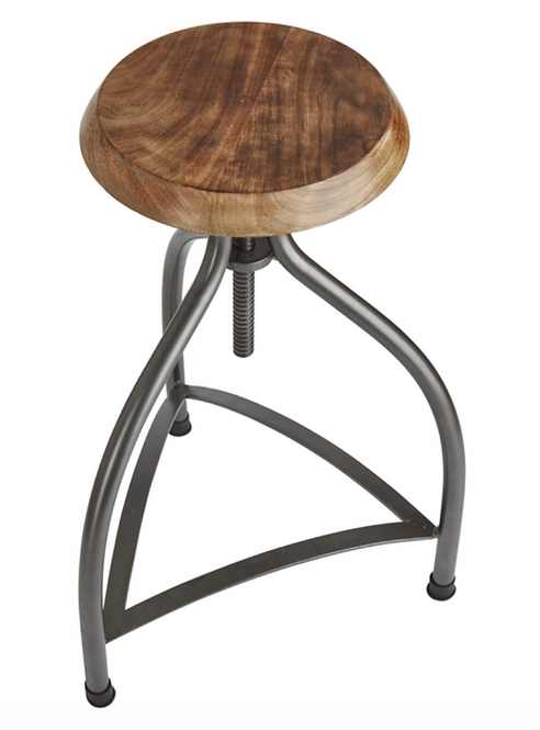 Cooper Solid Wood & Metal Adjustable Bar Stool - 34 Inch, by Industville