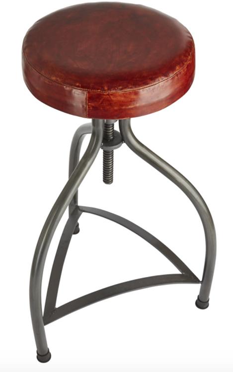Cooper Leather & Metal Adjustable Bar Stool - 34 Inch, by Industville