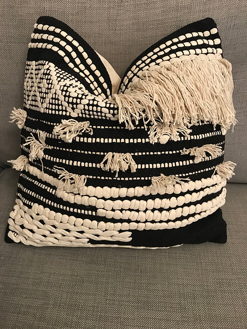 Modern Aztec Cushion - Black Tassle