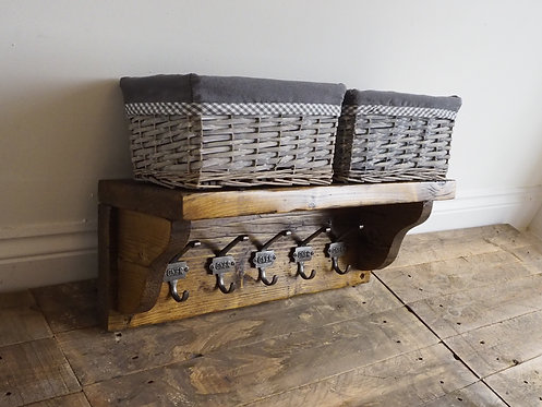 Cast Iron GNER Coat Rack with Shelf (Made to Order)