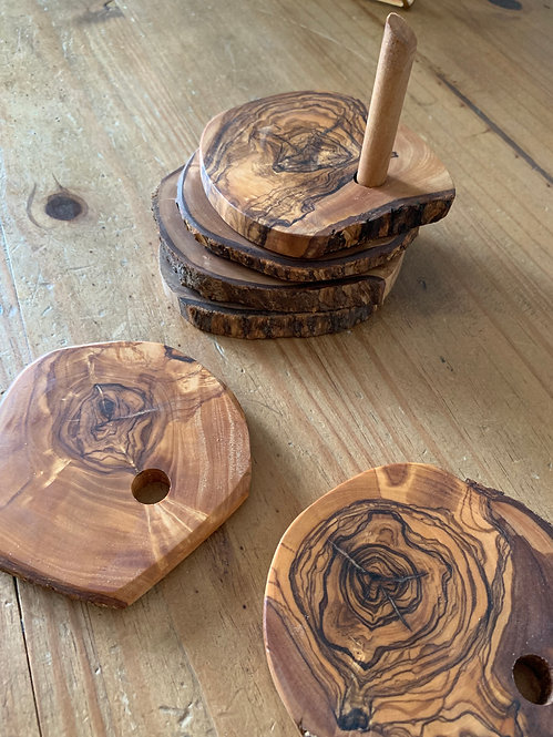 Olive Wood Rustic Coaster Set - set of 5