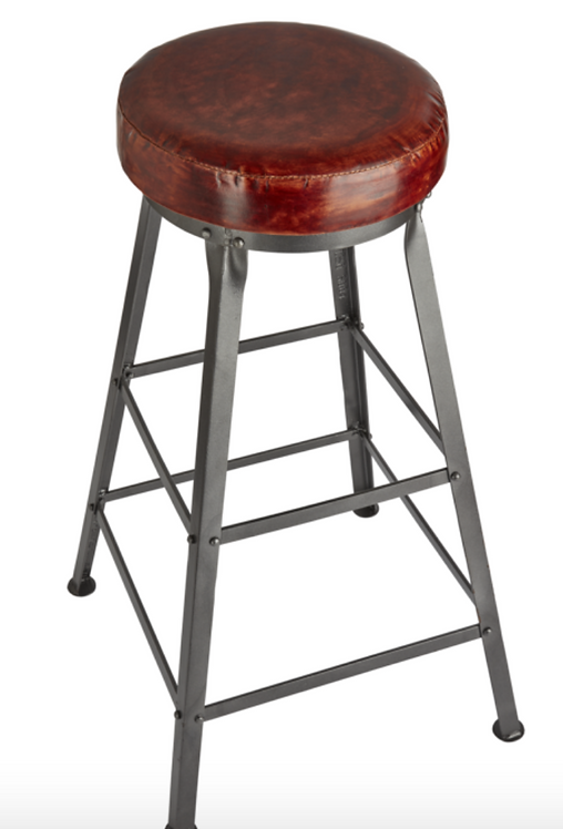 Cooper Tall Vintage Real Leather & Metal Bar Stool - 32 Inch, by Industville