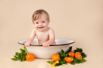Baby Photography fruit bath in Milton Keynes Alex