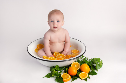 Baby Photography fruit bath in Bicester Caleb