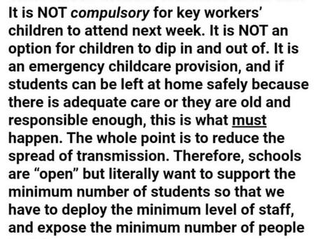 Key worker children next week