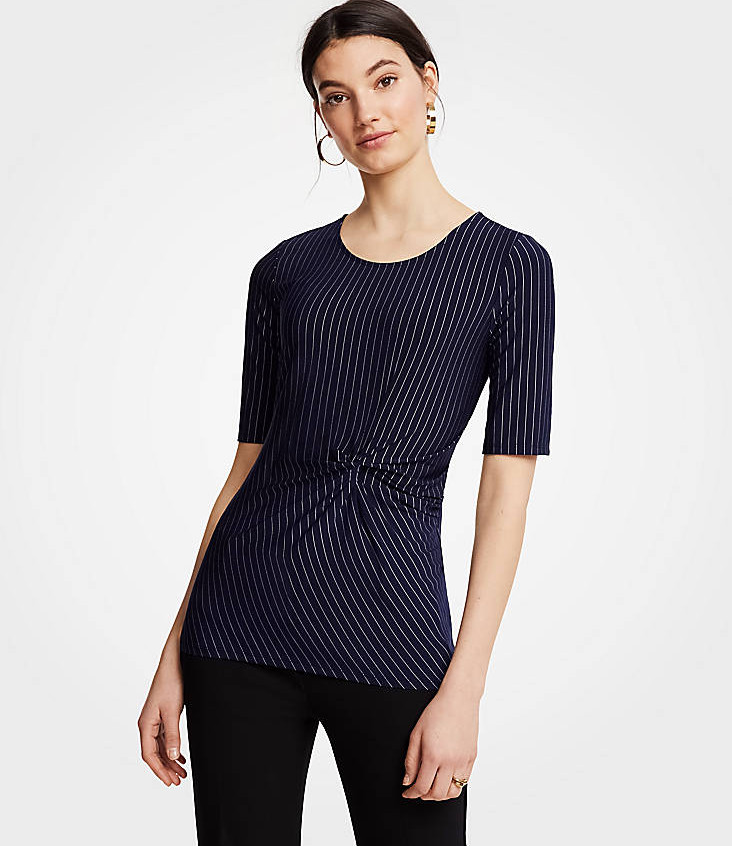 Pinstripe Twisted Front Top