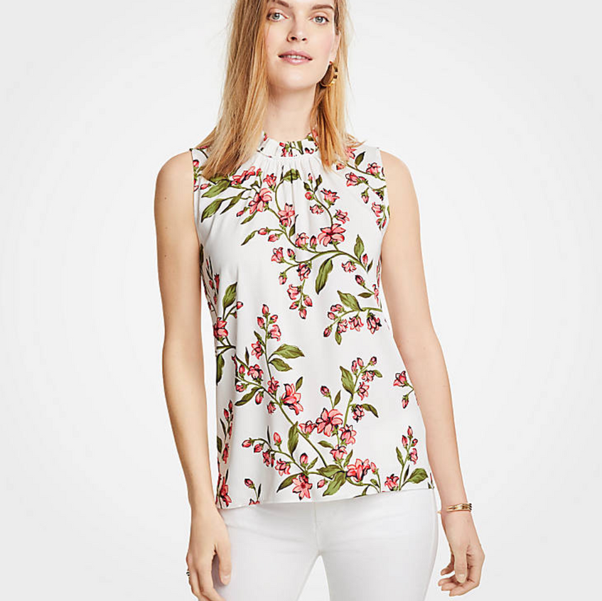 Floral Corded Ruffle Neck Shell