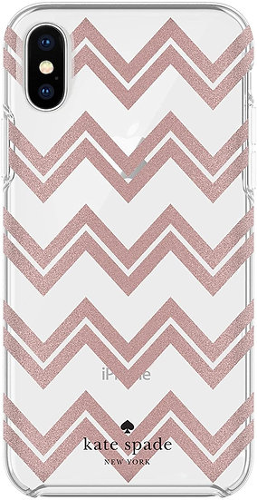 Kate Spade iPhone X/XS Wrap Case - Clear & Pink Zig Zags