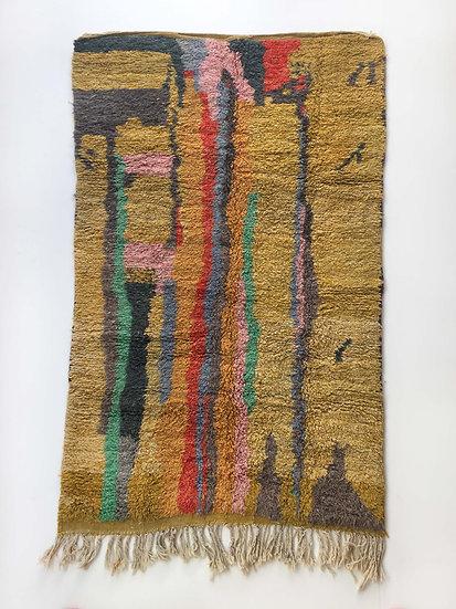 Tapis berbère Boujaad chiné à motifs colorés 2,53x1,42m