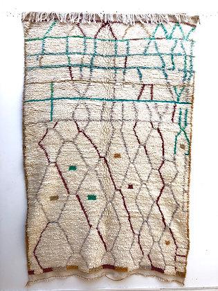 Tapis berbère Azilal écru à motifs colorés 2,34x1,51m