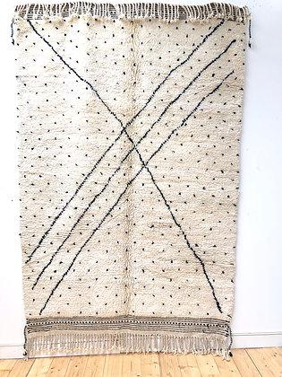 Tapis berbère Beni Ouarain à lignes et pois noirs 2,48x1,63m