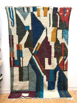 Tapis berbère Azilal à aplats colorés 2,90x1,83m