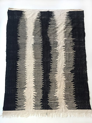 Kilim berbère Zanafi écru et noir 2,92x1,93m