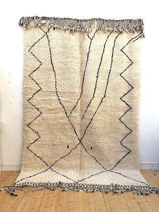 Tapis berbère Beni Ouarain à motifs libres noirs 3,16x2,16m