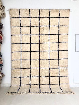 tapis berbère marocain beni Ouarain à carreaux bleu majorelle 2,92x1,93m