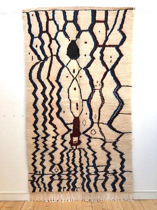 Tapis berbère Azilal 2,54x1,5 motifs bordeaux et bleu