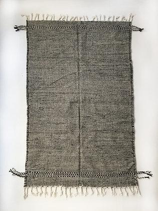 Kilim berbère Zanafi noir et écru 2,49x1,45m