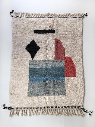 Tapis berbère Beni Ouarain écru à motifs colorés 2,44x1,76m