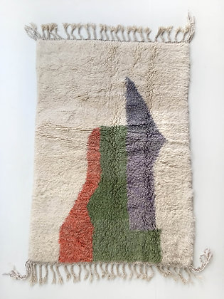 Tapis berbère Beni Ouarain à motifs colorés 2,06x1,32m