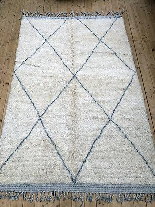 Beni Ouarain 3x1,92 écru à losanges gris