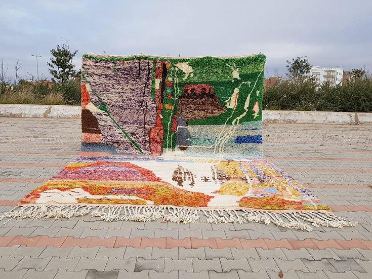 Tapis berbère Beni Ouarain à motifs colorés 3,91x3,12m