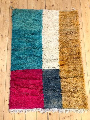Tapis Boujaad coloré moutarde, bleu, gris, rose et écru 1,4x0,98m