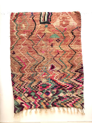 Tapis berbère Boujaad à motifs colorés de zigzags 2,16x1,63m