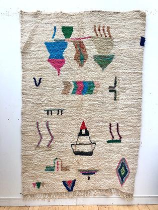 Tapis berbère Boujaad écru à motifs colorés 2,38x1,64m