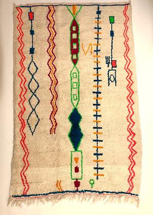 Tapis berbère marocain Azilal à motifs fluos 2,55x1,61m