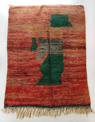 Tapis berbère Boujaad rouge à motifs colorés 2,88x2,02m