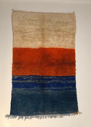 Tapis berbère Boujaad tricolore orange, écru et bleu 1,48x0,92m