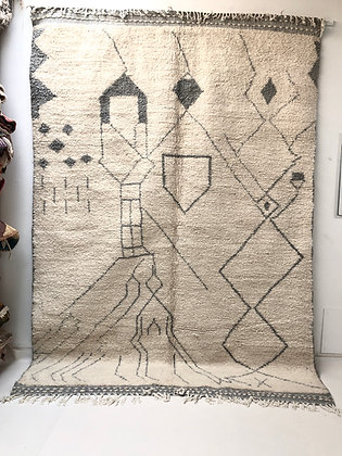 Tapis berbère Beni Ouarain à motifs graphiques gris clair 3,02x2,12m