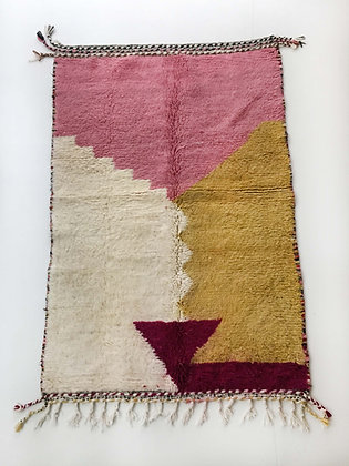 Tapis berbère Beni Ouarain écru à motifs colorés 1,98x1,28m