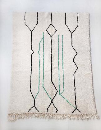 Tapis berbère Beni Ouarain écru à motifs graphiques 2,35x1,71m