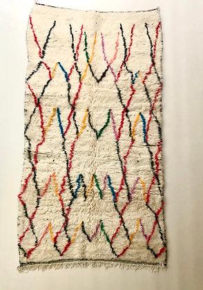 Tapis berbère azilal à motifs colorés 2,51x1,35m