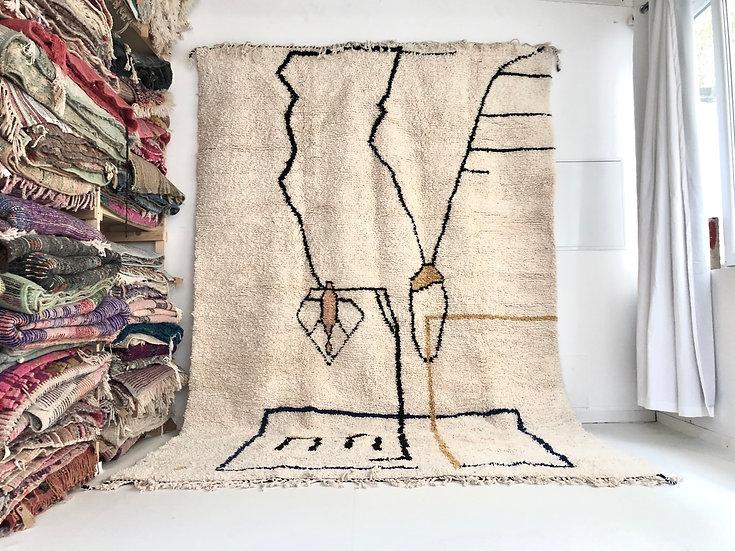 Tapis berbère Beni Ouarain à motifs colorés 3,66x2,5m