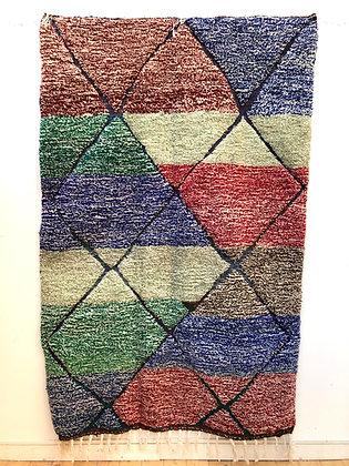 Tapis berbère Beni Ouarain moucheté coloré et losanges 2,46x1,6m