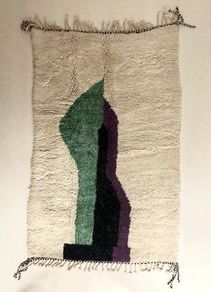 Tapis berbère Beni Ouarain ecru a formes colorées 2,1x1,30m