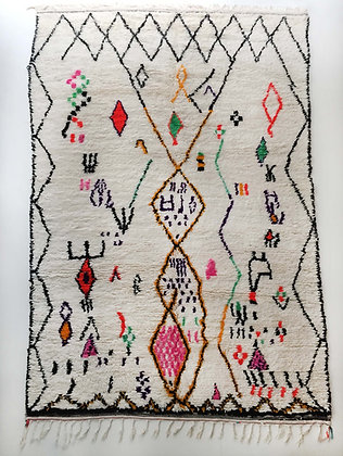 Tapis berbère Azilal écru à motifs colorés et fluo 3,21x1,88m