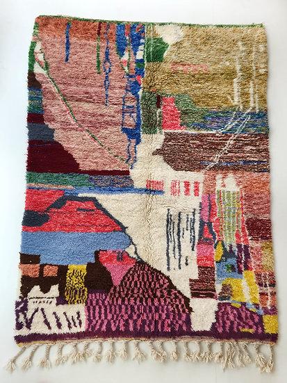 Tapis berbère Beni Ouarain à motifs colorés 2,50x1,69m