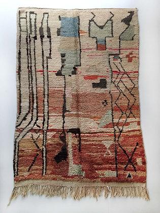 Tapis berbère Boujaad à motifs colorés 2,42x1,56m