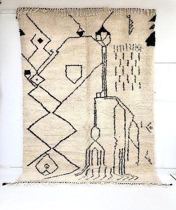 Tapis berbère Beni Ouarain à motifs libres noirs 2,94x2,12m