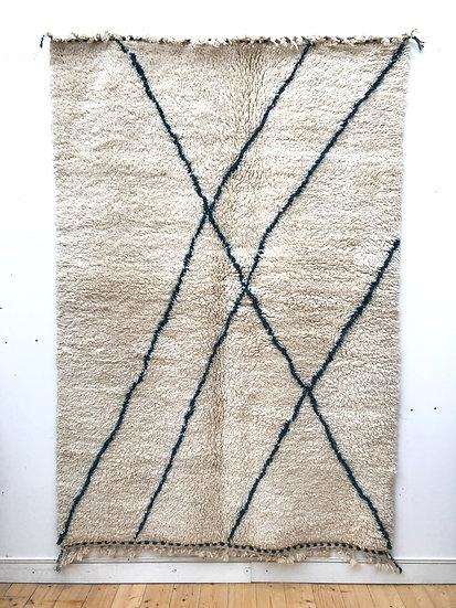Beni Ouarain à motifs lignes vert bouteille foncé 2,47x1,68m