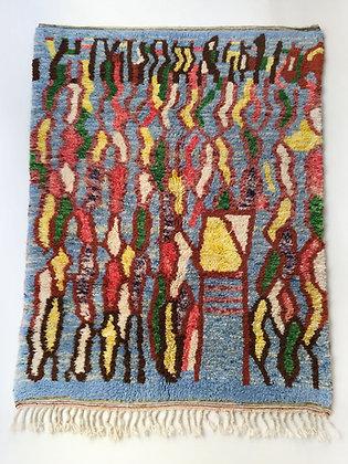 Tapis berbère Beni Ouarain à motifs colorés 2,58x1,63m