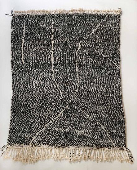 Tapis berbère Beni Ouarain moucheté noir et écru à lignes graphiques 2,80x2,06m