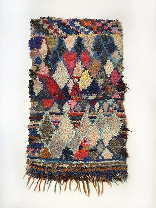 Tapis berbère Boucherouite à motifs colorés 1,61x1,30m