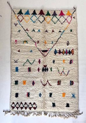 Tapis berbère Beni ouarain à motifs colorés 2,38x1,58m