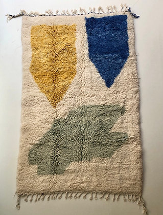 Tapis berbère Beni Ouarain à motifs colorés 2,45x1,52m