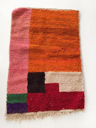 Tapis berbère Boujaad à aplats colorés 1,51x1,06m
