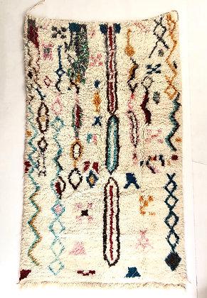 Tapis berbère Boujaad écru  motifs colorés 2,52x1,51m